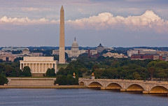 Washington D.C. (jsuhanick) Tags: camera city bridge sunset usa monument skyline clouds river washingtondc dc washington memorial cityscape capital lincoln monuments memorialbridge patomac nationalcapital districofcolumbia caonon 40d canon40d