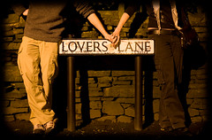 Lovers Lane - Day 104 of Project 365 (purplemattfish) Tags: road street love sign night standing canon couple lovers ef50mmf14 lane 5d fridays project365 purplemattfish