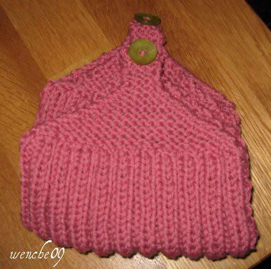 lommetøffler rosa m/grønn knapp