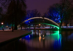 Bedford Suspension Bridge in the Snow at Night (Greg Webb) Tags: winter light urban snow cold water night river dark bedford beds low great bedfordshire ouse embankment greatouse