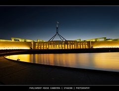 Parliament House Canberra (Sam Ili) Tags: light sunset sky house color building water architecture night canon australia parliament national canberra hdr act explored 450d redbubble canon1022mm3545