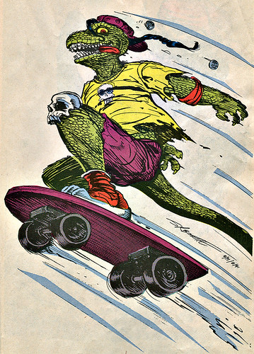 Mighty Mutanimals : INVASION FROM SPACE - Pin-up Gallery ::  Mondo Gecko .. //  art by S.R. Bissette (( 1991 ))