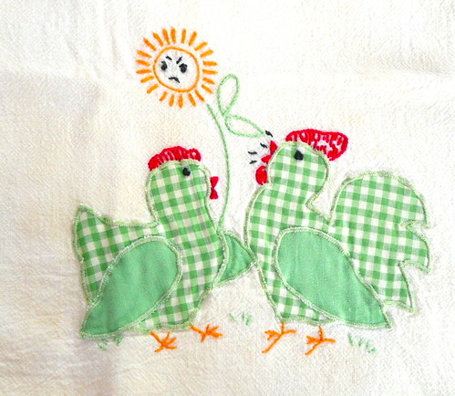 Green Vintage Chickens
