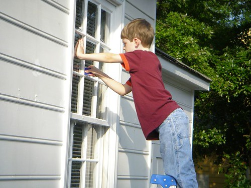 my son's desire to help scrape windows