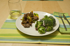 Stir Fried Beef with Broccoli & Grape Salad