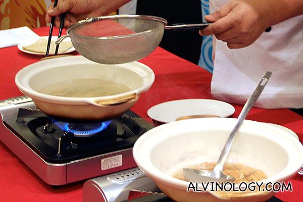 Making wanton skin soup