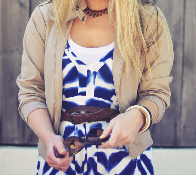 blue and white maxi dress   with brown accessories