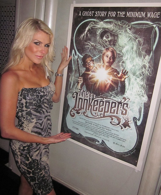 Jennifer Lexon wearing Lloyd Klein,The Innkeepers Movie Party, Rolling Stone, Hollywood and Highland