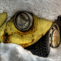 Snowed in (Amundn) Tags: winter snow cold car norway closeup bug nikon rust crying rusty tire boble ww trondheim badday spikes hdr interestingness9 d300 themoulinrouge firstquality anawesomeshot