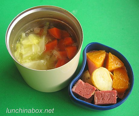 Corned beef & cabbage bento lunch for preschooler