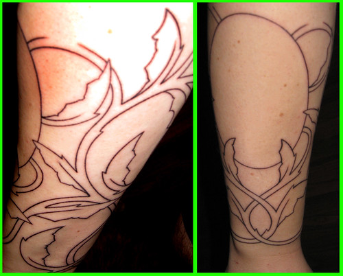 Bat Wing Vines & Vampira Tattoo - Initial Line Work Photo 2