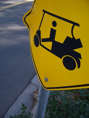 Look out for golf carts in Temecula Creek Golf Course, Temecula, California, USA