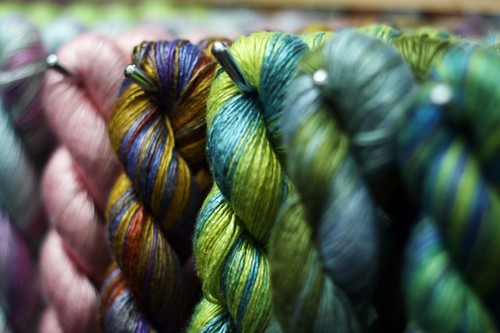 green yarn in line