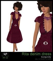 [MG fashion] Rita denim dress (burgundy)