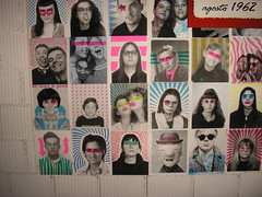 PHOTOBOOTH HALL OF FAME (Zellaby) Tags: friends art collage portraits photobooth faces paintings performance popart installation vernissage artworks spac buttrio giuseppecollovati