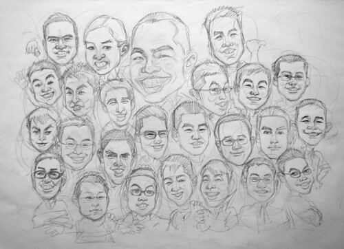 Group caricatures G2 Army  pencil sketch