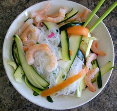 Ponzu Noodle Bowl (jazzijava) Tags: light food orange white green vegetables recipe asian lunch blog healthy colours shrimp blogger fresh onions spices chopsticks noodles blogged carrots easy zucchini radish shredded nutrition nutritious ponzu starch whatsmellssogood