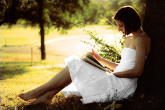 Wrapped Up In Books. (The Vision Beautiful) Tags: tree nature girl forest sunrise skinny book woods read sit barefeet brunette teenage whitedress carolinetaylor