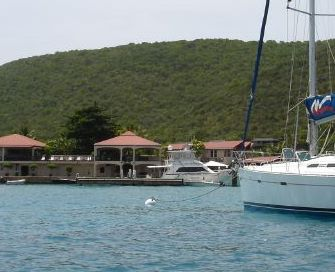our ship, properly moored at The Bitter End Yacht Club, Virgin Gorda (BVI)