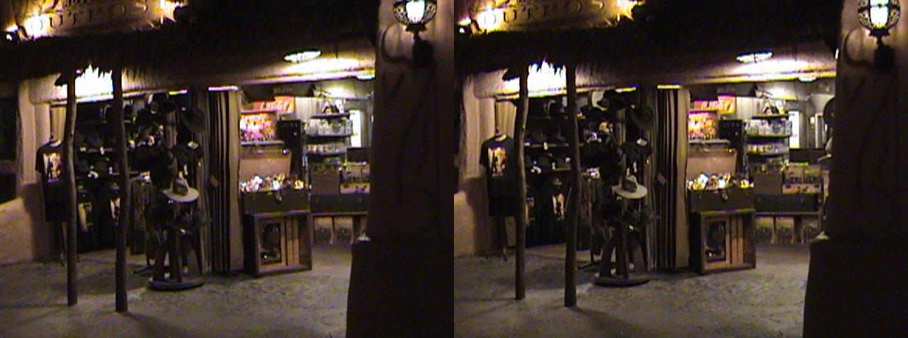 dsc06641, 2008:06:08 23:42, 3Dh, California, Anaheim, Disneyland®, Adventureland, Indiana Jones™ Adventure Outpost, night, color slow shutter, Hyper 3D
