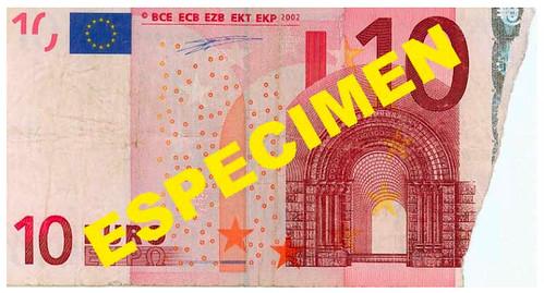 Billete de 10 euros mutilado