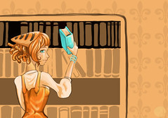 I Like Books and Quet. (Jem Yoshioka) Tags: ophelia orangeandblue otherwalls headkittens