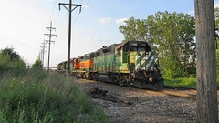 Northbound BNSF Railway light engine movement returning to Clyde Yard in Cicero Illinois. Hawthorne Junction. Chicago / Cicero Illinois. June 2008.
