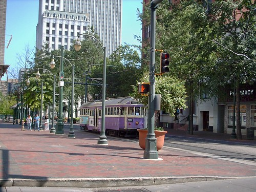 Purple Melbourne Australia W-2 class tram car heading southbound on Main Street. Memphis Tennesee. September 2007. by Eddie from Chicago
