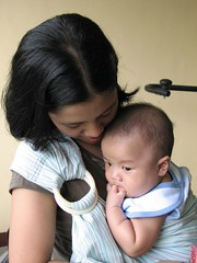 Mommy Wearing Asher through the sling