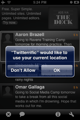 Twitterrific with Geolocation