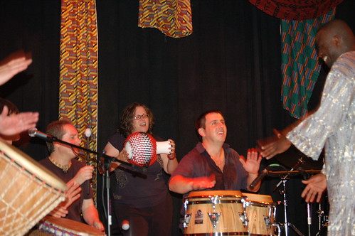 Playing shekere with Jim Donovan's band - Drum the Ecstatic International
