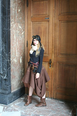 Steampunk Adventurer (House Of Secrets Incorporated) Tags: costumes brown black hat fashion leuven belgium goggles hilde costuming louvain adventurer steampunk fashiondesign costumedesign houseofsecrets aviatorhat houseofsecretsincorporated tomvanherck