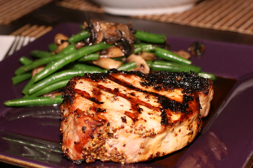 Mustard Pork Chops with Sauteed Mushrooms and Gren Beans