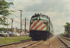 Westbound Burlington Northern commuter train. La Grange Illinois. june 1985.