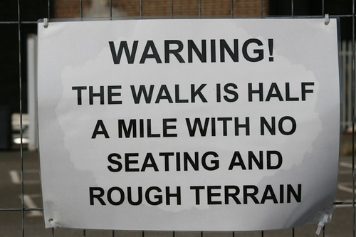 warning - half a mile walk