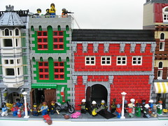 The Outbreak (Dunechaser) Tags: buildings town lego zombie garage gang modular fireman biker firemen firestation zombies firehouse firefighter mechanic firefighters diorama bikers mechanics dioramas worldwarz brickarms foitsop apocalego thebrothersbrick brothersbrickcom apocafest