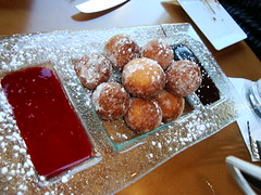 Home-Made DoNuts with Raspberry Sauce & Chocolate Sauce