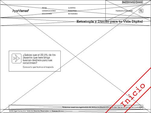 WireFrame de nuevo Portal de AyerViernes