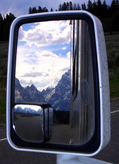 Double vision.  Leaving the Grand Tetons behind (ronmcbride66) Tags: mirror view traffic vision grandtetons rv tetons motorhome trafficjam doublevision wingmirror