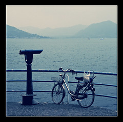 Parked Up (Barry McGrath) Tags: family sunset italy lake mountains water bike landscape lago holidays september parked monte 2008 iseo lakeiseo aplusphoto barrymcg bazzymcg iseola