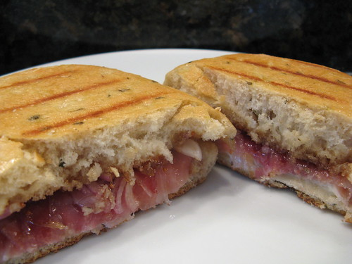 fig, prosciutto & cream cheese panini