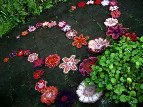 Floral crochet installation