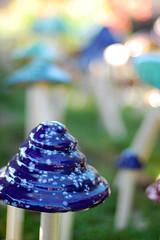 Garden Shrooms (MissLindsayMeagan) Tags: mushroom garden 50mm moss nikon colorful bokeh painted rogersgarden nikond40