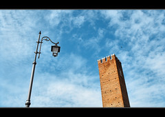 Signs of the time on the eternal sky (bufivla) Tags: world blue two sky italy tower clouds europe italia serbia vicenza vladimir jovanovic veneto bufivla