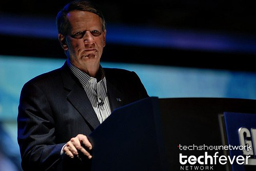 General Motors (GM) CEO Rick Wagoner during his keynote address at the 2008 International CES Consumer Electronics Show in Las Vegas by TechShowNetwork.