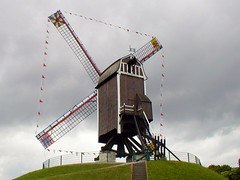 Windmill by the canal Bruges, Belgium 2007