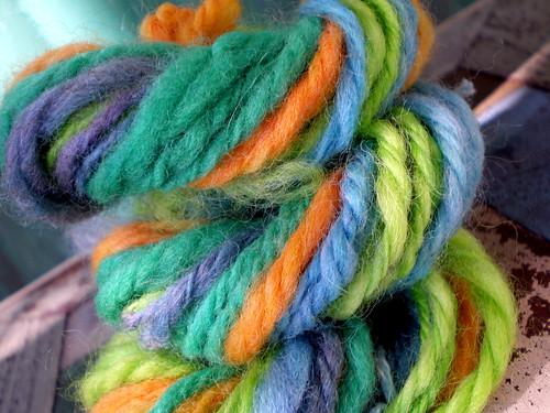 Handspun, Hand-Dyed Skein of Merino Wool