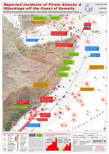 carte des attaques pirates en Somalie