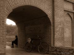 (shagreen*) Tags: man bicycle sepia persian iran iranian isfahan marnanbridge