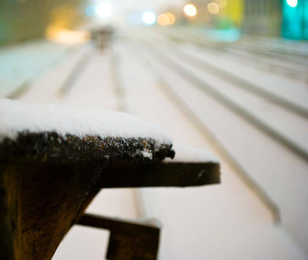 trainyard at night